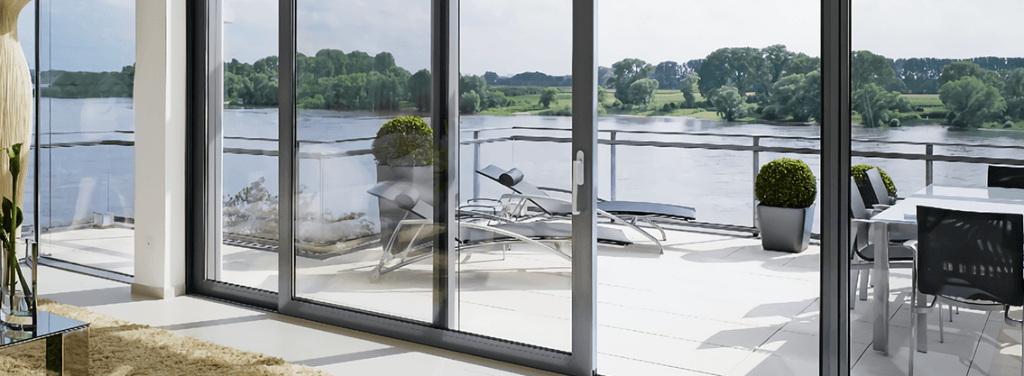 Sliding Grey Framed Doors